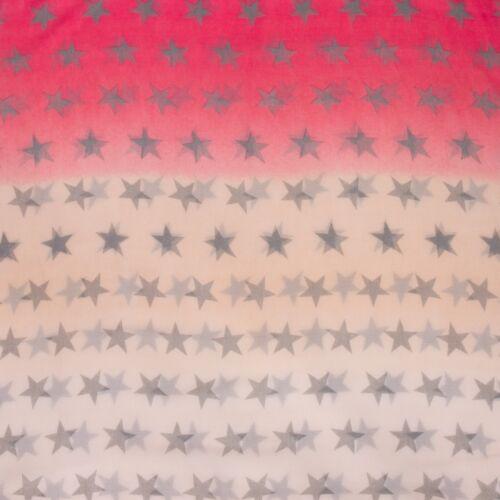 CASPAR Damen Baumwoll Loop Schal Rund Schal mit Sternen Print Schwarz Rot NEU