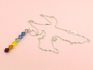 CHAKRA-925-STERLING-SILVER-Wave-CHAIN-Made-with-SWAROVSKI-Crystal-Chain-NECKLACE