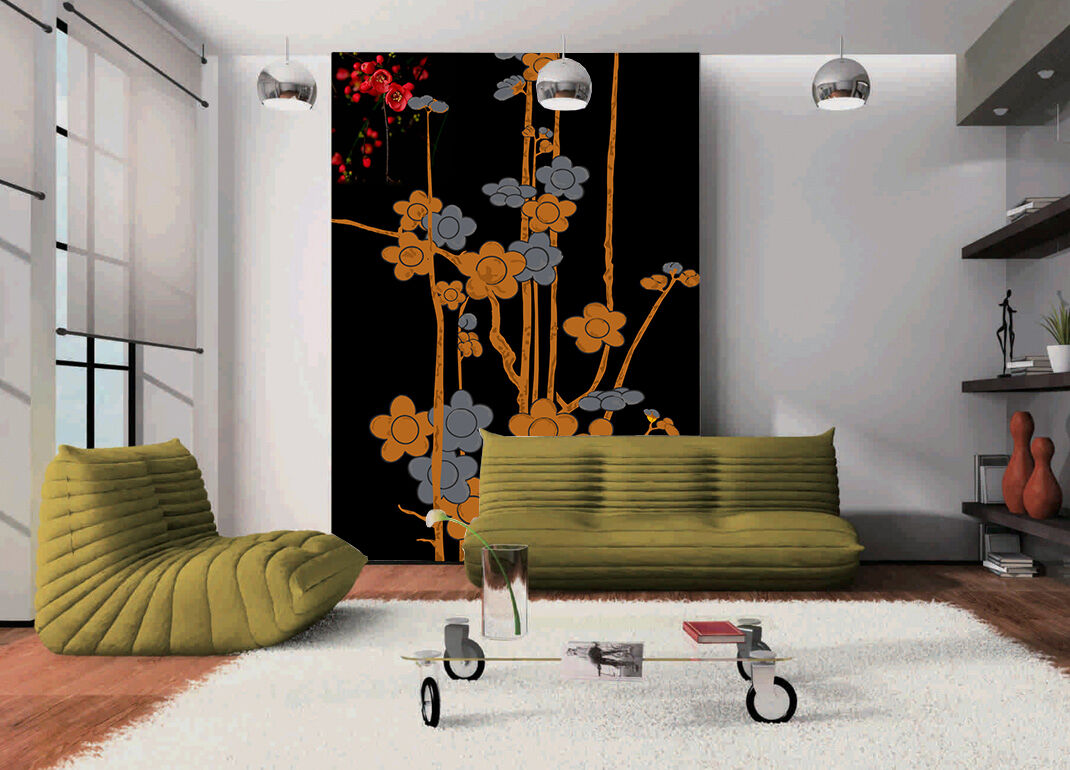 3D Painted Flowers Trees Paper Wall Print Wall Decal Wall Deco Indoor Murals