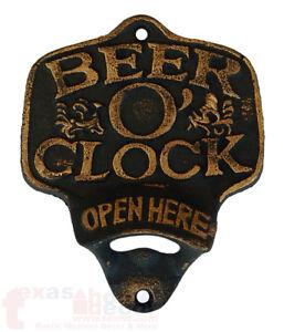 Cast-Iron-BEER-O-CLOCK-Plaque-OPEN-HERE-Beer-Bottle-Opener-Rustic-Wall-Mount