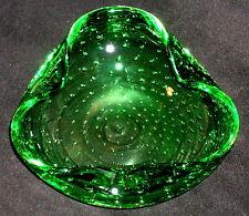 Murano Glas Schale mit Luftblasen Grün 60er / 70er Jahre