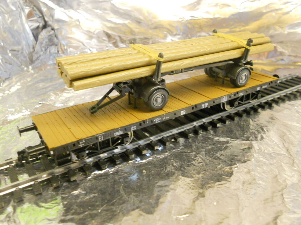 Fleischmann 825726 4 Axled Rung Wagon loaded & Wiking Log Transporter 1 87