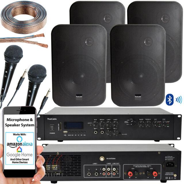 400 W Bluetooth Système Sonore –4x Noir 200 W mur haut-parleur – karaoke ampli & Microphones