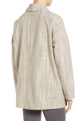 Cotton sciallato Fiammato collo Natural Fisher 190428098274 Stripe con m Nwt Colletto oversize Eileen Sz S SHwqf0B7