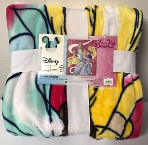 NEW-Disney-Princess-Plush-Throw-Blanket-Fleece-Children-Pink-Yellow-50-x-60-034