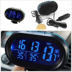 Car Indoor Outdoor Lcd Digital Temperature Voltage Gauge Cigarette Lighter Plug Ebay