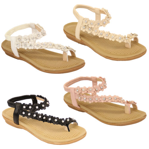 Ladies Flat Slip On Sandals Womens Diamante Sling Back Floral Shoes Summer Party