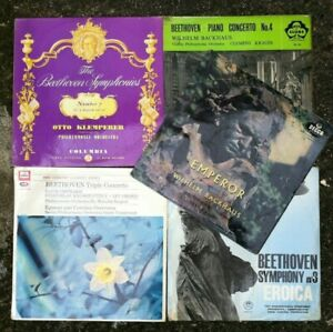 Job-Lot-Bundle-of-4-Beethoven-Vinyl-Albums-Fantastic-Collection-of-Symphonies