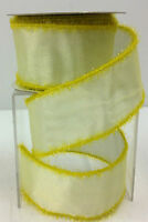 Yellow Wired Edge Sheer Lame Eyelash Ribbon. 2 1/2 W X 10 Yd Roll.