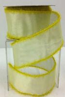 Yellow Wired Edge Sheer Lame Eyelash Ribbon. 2 1/2 W X 10 Yd Roll.