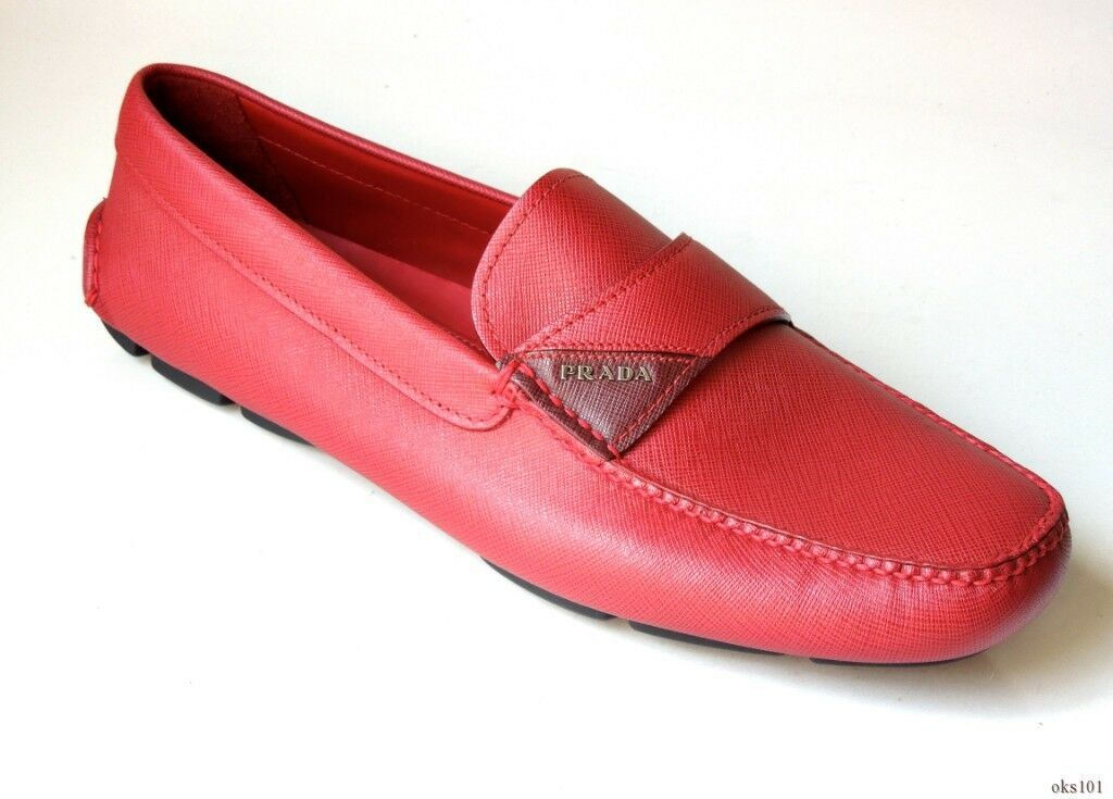 New  680 uomo PRADA Saffiano leather LOGO strap loafers driver scarpe 10 US 11