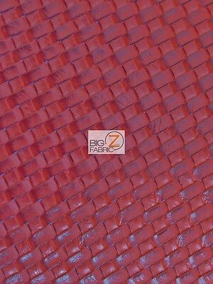 """BTY Small Basket Weave Tile Vinyl Upholstery Faux Leather Fabric//Black 54/"""" Wide"""