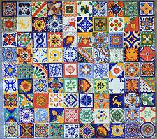 90 PCS TALAVERA HANDPAINTED MEXICAN TILES 4X4 ASSORTED DESIGNS