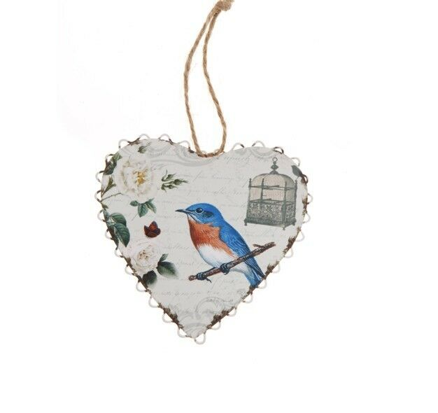 Heart and blue bird hanging decoration - shabby chic, vintage style - gift