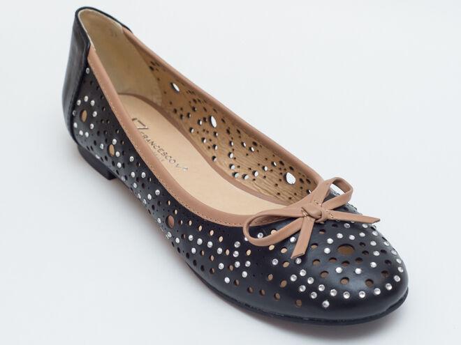 New  Francesco V. Black Size Perforated Leather Flats Size Black 37 US 7 016752