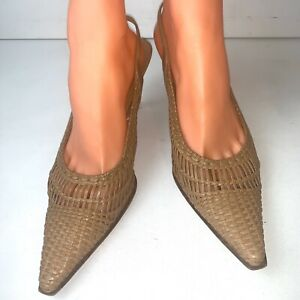 Stuart-Weitzman-Womens-Tan-Woven-Leather-Heel-Sling-Back-Pointed-Toe-Size-9-M