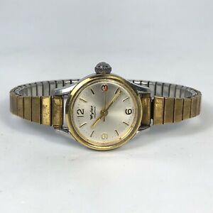 Wyler Womens Gold Silver Two Tone Quartz Analog Wind Up Bracelet Watch