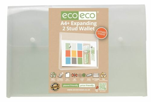 5 x eco-eco A4 95/% Clear Recycled Expanding 2 Stud Wallet Envelope Folders
