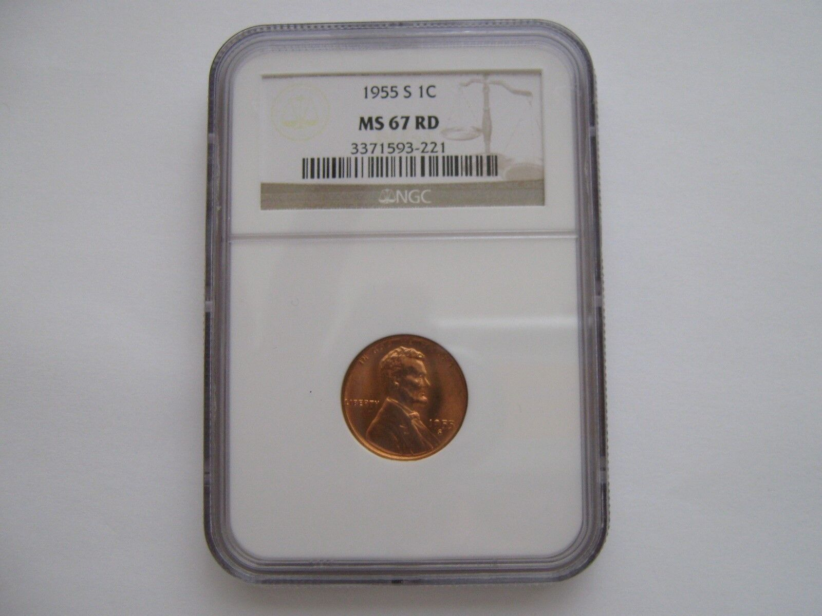 1955-S , Lincoln Penny , NGC , MS 67 RD