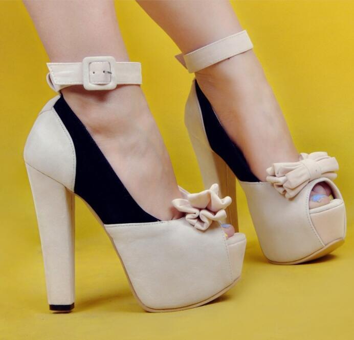 femmes Peep Toe Bowknot Platform Ankle Strap Chunky Chunky Chunky Block High heel chaussures f188f1
