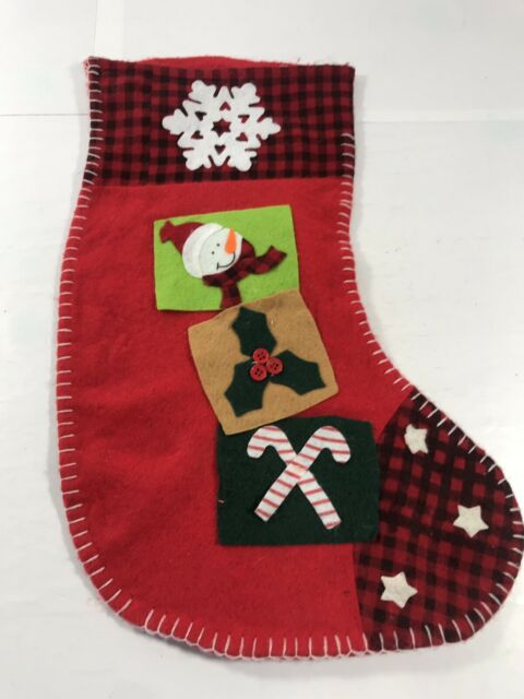 Christmas Stocking Felt Snowman Red Holiday Home