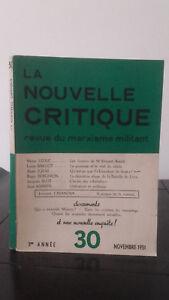 La Nuovo Critica - Rivista di Un Marxismo Attivista - Novembre 1951 - 3ème Anno