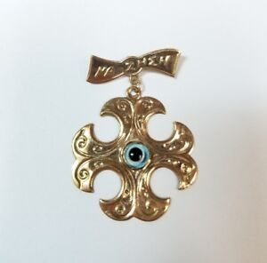 Vintage 10k yellow gold evil eye pendant pin medal na zheh ebay image is loading vintage 10k yellow gold evil eye pendant pin aloadofball Choice Image