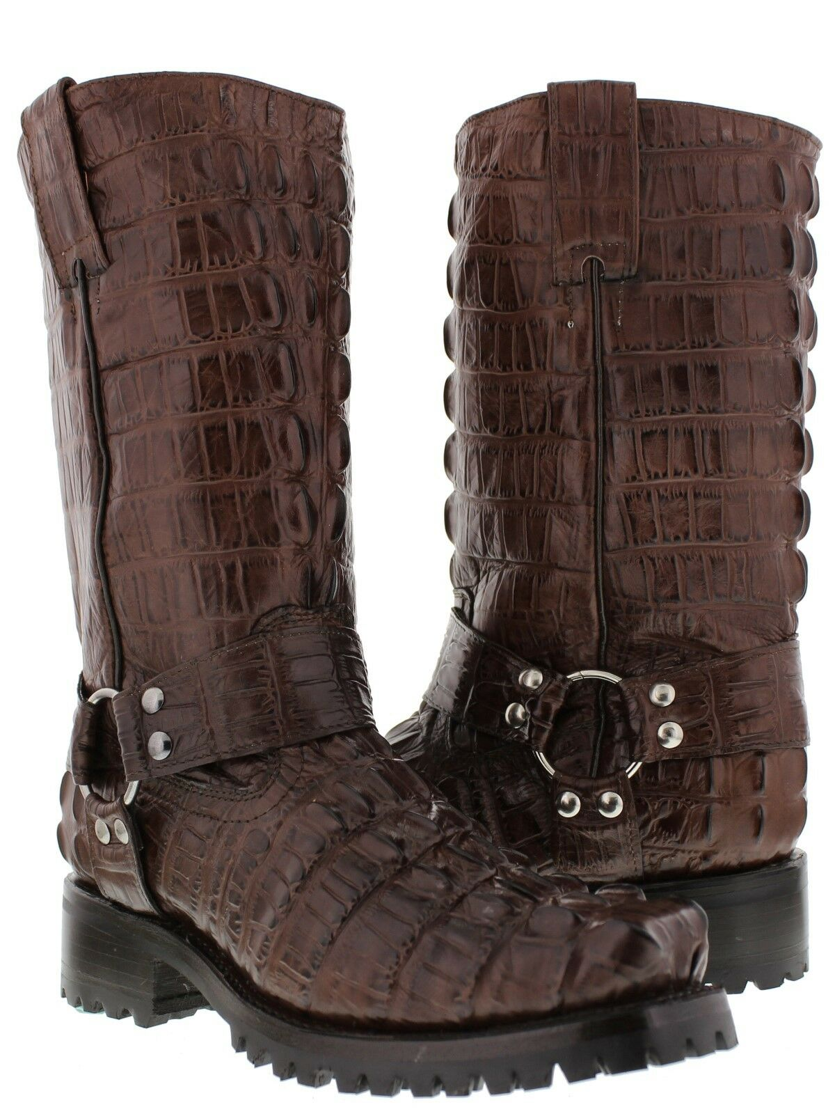 Mens Brown Alligator Tail Pattern Leather Motorcycle Harness Boots Square Toe