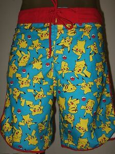 188ec860f6 New Men's Pokemon Pikachu Anime Game Character Beach Swim Trunks ...