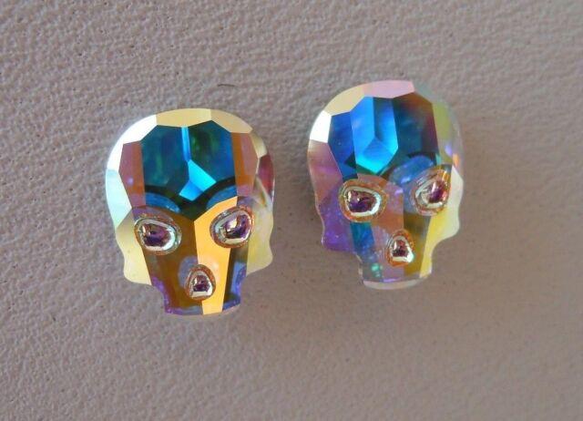 Hypoallergenic Stud Earrings Swarovski Elements Crystal Skull In Aurora Borealis