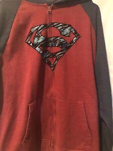 SUPERMAN-MENS-Long-Sleeve-Zip-Up-HOODIE-JACKET-XL-46-48-Red-Blue-Sweatshirt