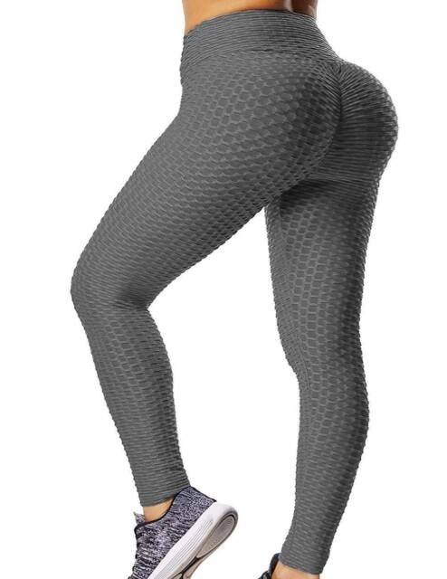 Womens High Waist Yoga Pants Anti-Cellulite Leggings Ruched Gym Sports Trousers