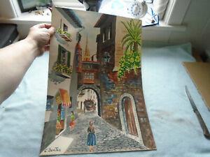 Watercolour-Signed-C-Benitez-Spanish-Street-Scene