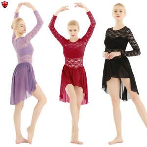 Women Ladies Lyrical Dress Contemporary Ballet Dance Costume Leotard Unitards UK