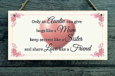 Beautiful Shabby Auntie Sister Love Mum Friend Distressed Sign Plaque Chic Gift