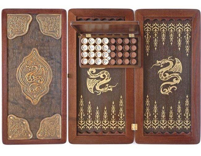 21  COOB Golden Dragon Luxury Wooden + Leather Backgammon Tournament Board  2