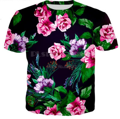 Men/'s Women FLOWER funny 3D Graphic Print Casual Short Sleeve Tees Tops T-Shirt