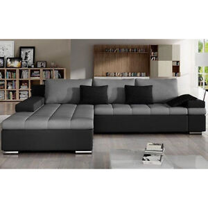 Corner Sofa Bed BANGKOK with Storage Container Faux Leather & Fabric New