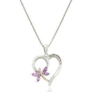 Created Pink Sapphire Butterfly Heart Pendant in Silver & 14K RG Plt w Diamonds