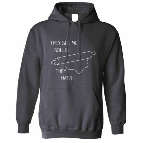 Novelty Cooking Hoodie They See Me Rollin Pastry Pun They Hatin Chef Joke