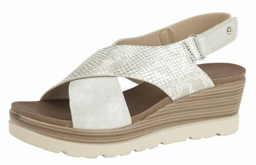 Ladies Womens Sandals Crossover Touch Fastening High Wedge Slip On Shoes Size