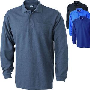 promo code a0a63 eacd0 Details zu James & Nicholson Herren Langarm Polo mit Brusttasche Longsleeve  T-Shirt S-XXXL