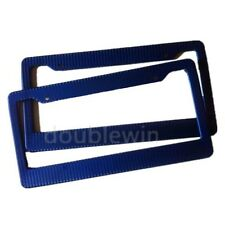 Pair Car License Plate Frame Cover Blue Carbon Fiber Painted 11.23x4.45inch