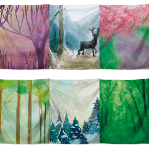Scenic Snowing Village Elk Tapestry Wall Hanging Blanket Yoga Mat Room Decor
