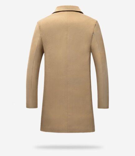 Long Overcoat Coat Jacket Trench Winter Warm Men/'s British Casual Wool Outwear