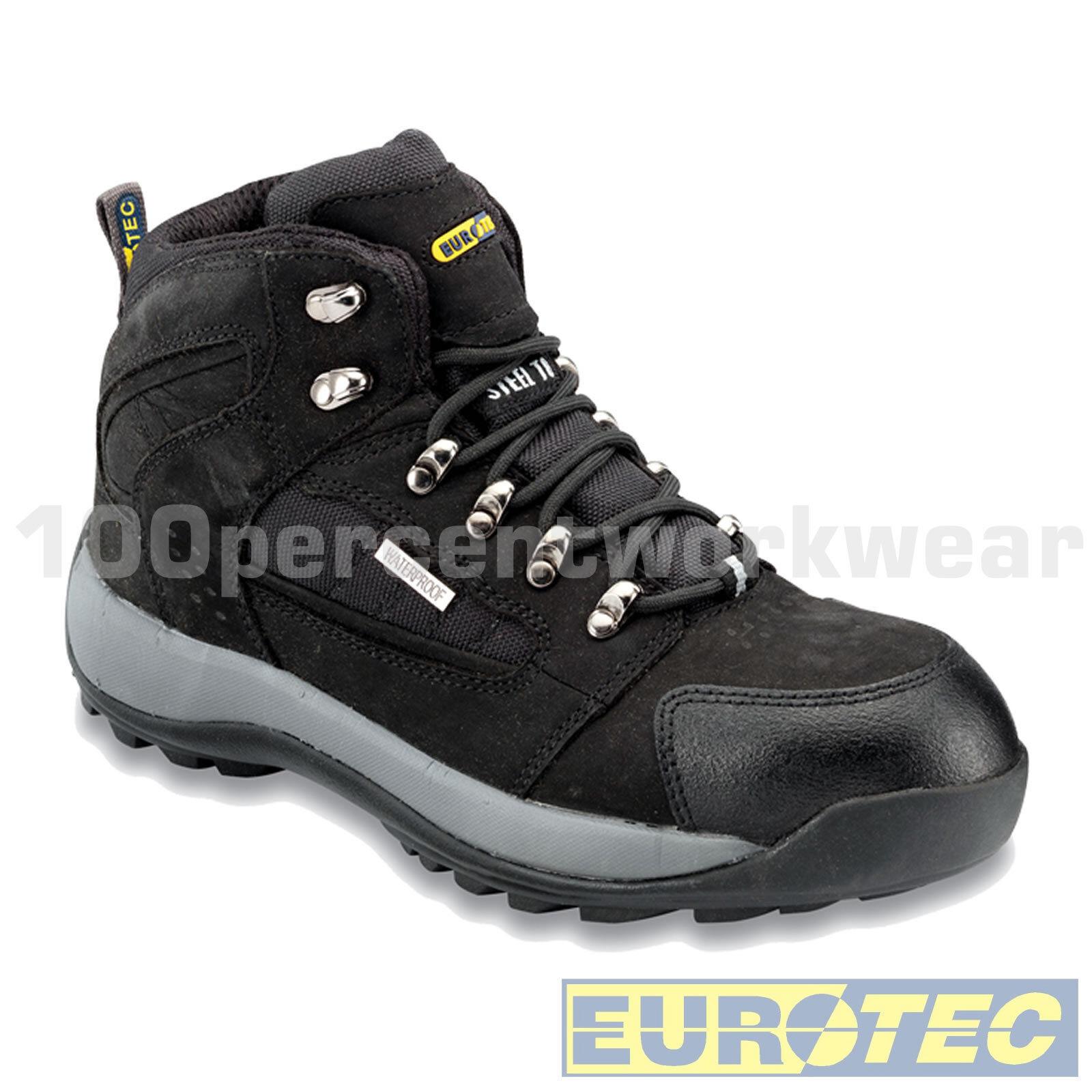 Eurotec 706SM Sécurité Travail Noir Bottes Homme Noir Travail Ran eur Nubuck Imperméable Steel Toe Cap 6910f0
