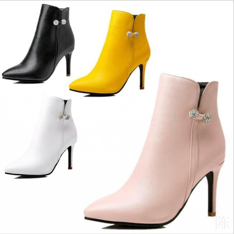 45 46 47 48 Damenpumps Strass Stiletto Spitz Freizeit Winter Ankle Stiefel Schuhe