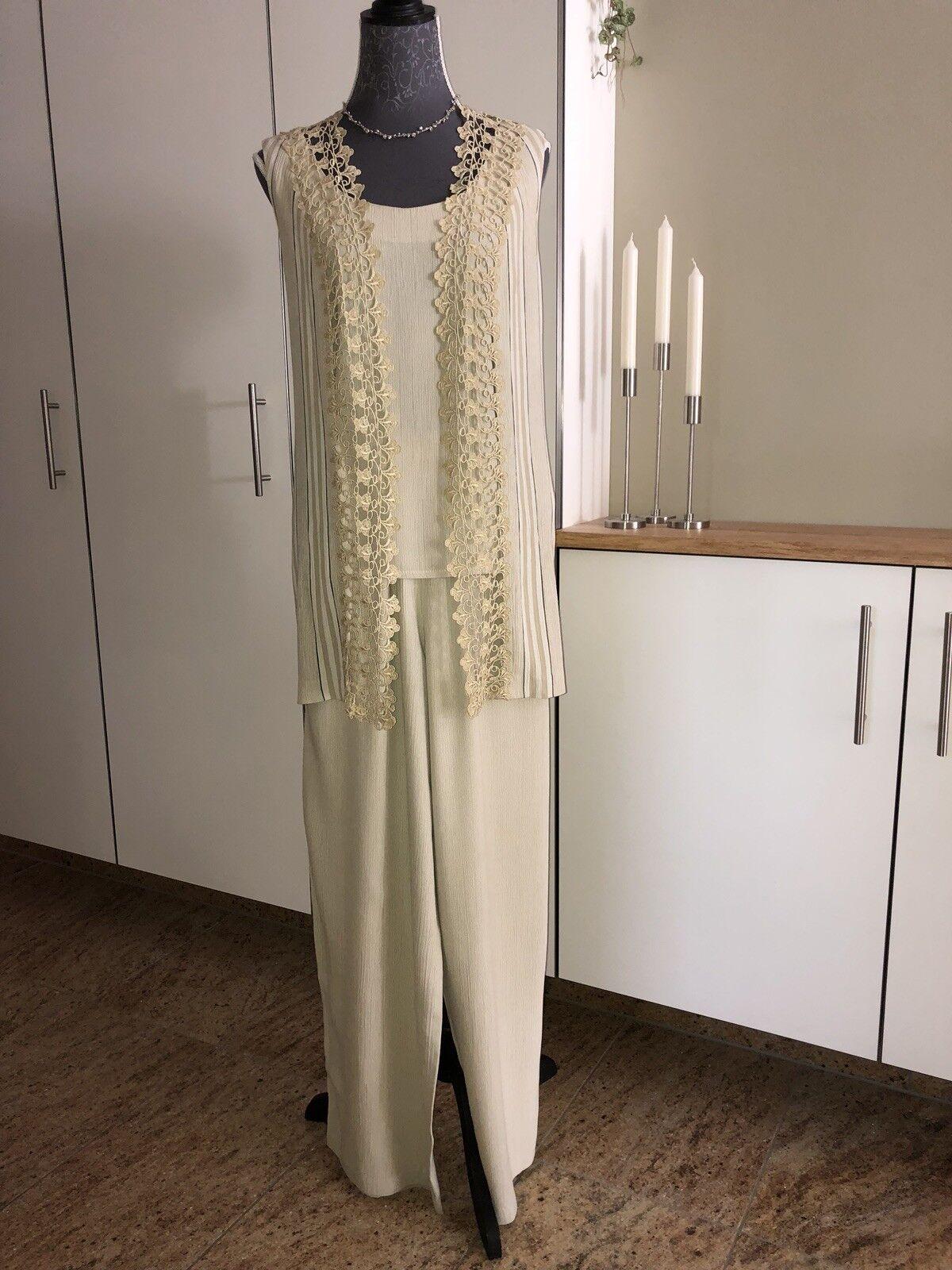 Joseph Ribkoff Designer Sommer-Kostüm Twinset + Hose 38 S M Luxus Couture