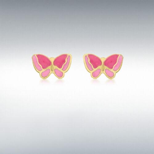 9ct Yellow Gold Women/'s Fashion Pink Enamel Butterfly 4mm X 7mm Stud Earrings