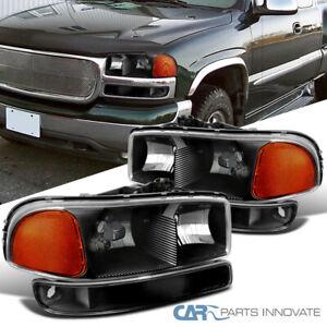 For 99-06 GMC Sierra Yukon Denali XL Black Headligths+Bumper Turn Signal Lamps